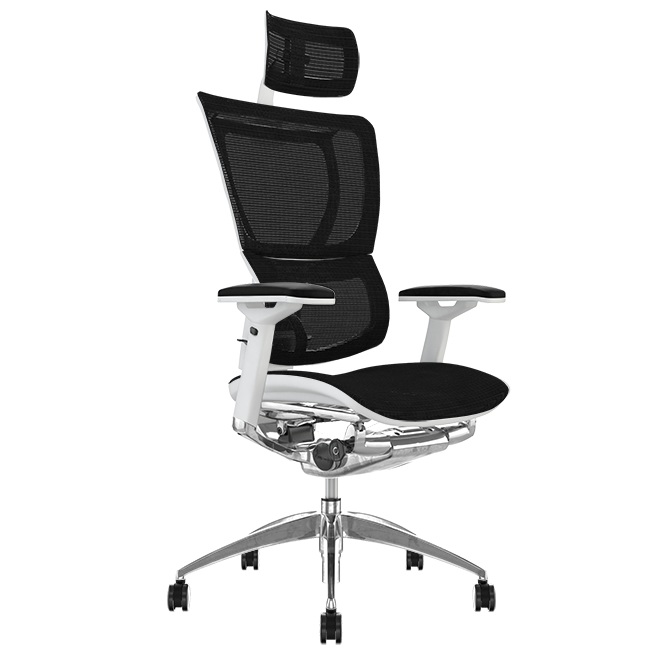 Mirus Black Mesh, White Frame Office Chair