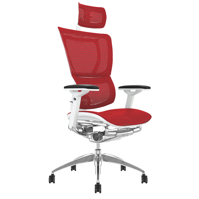 Mirus Red Mesh, White Frame Office Chair with Head Rest